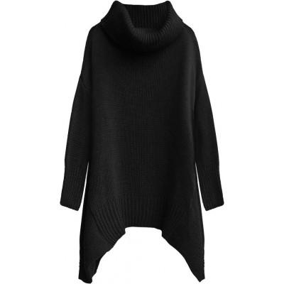 Dámsky sveter s rolákom čierny (494ART)
