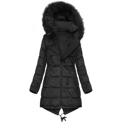 Dámska obojstranná zimná bunda čierna (7911)