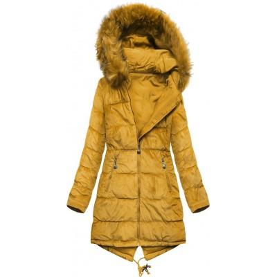 Dámska obojstranná zimná bunda horčicová  (7911)