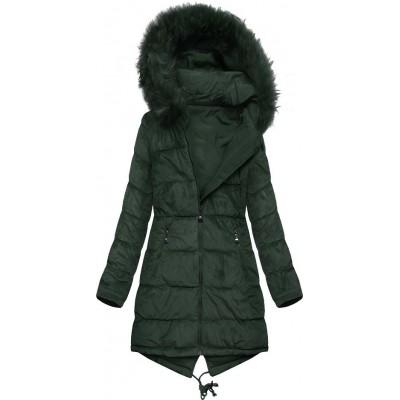 Dámska obojstranná zimná bunda tmavozelená (7911)