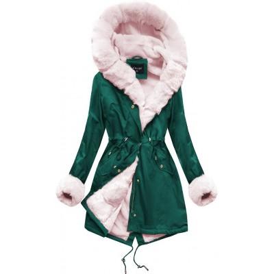 Zimná dámska bunda parka zeleno-ružových (B500)