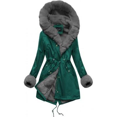 Zimná dámska bunda parka zeleno-šedá (B500)