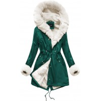 Zimná dámska bunda parka zeleno-béžová (B500)