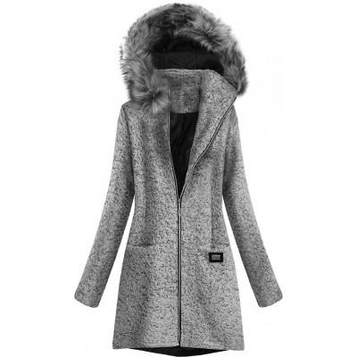 Krátky dámsky kabát šedý (516ART)