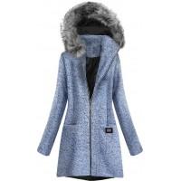 Krátky dámsky kabát modrý (516ART)