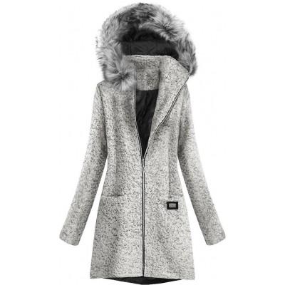 Krátky dámsky kabát ecru (516ART)