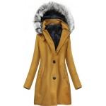 Dámsky zimný kabát horčicový (513ART)