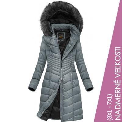 Prešívaná dámska zimná bunda šedá (7762BIG)
