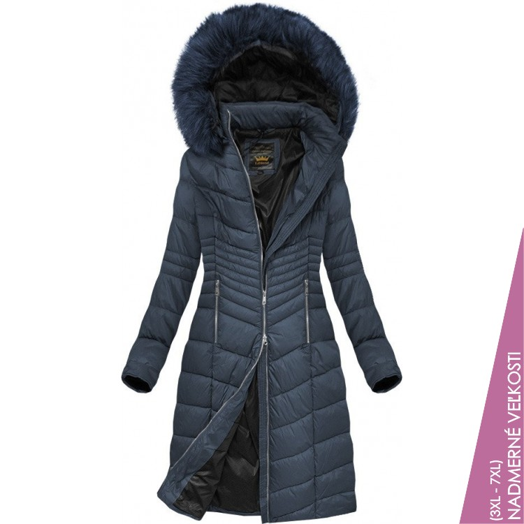 Prešívaná dámska zimná bunda tmavomodrá (7762BIG)