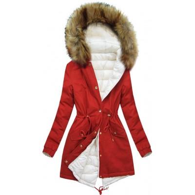 Dámska zimná obojstranná bunda ecru-biela  (B507)