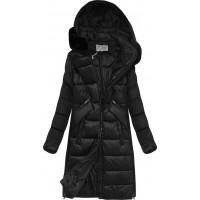 Dámska zimná bunda z kombinovaných materiálov čierna (J19-011)