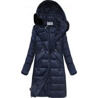 Dámska zimná bunda z kombinovaných materiálov tmavomodrá  (J19-011)