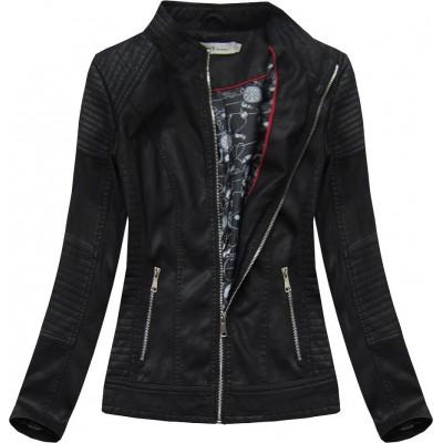 Dámska koženková bunda čierna (TD113)