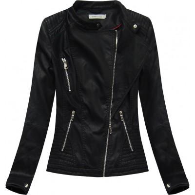 Dámska koženková bunda čierna (TD135)