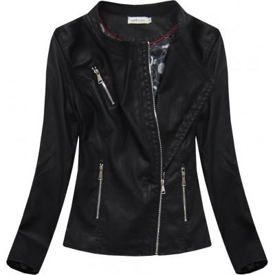 Dámska koženková bunda čierna (TD813)