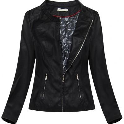 Dámska koženková bunda čierna (TD102)