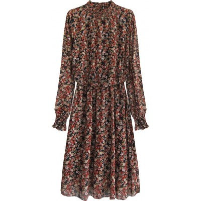 Dámske kvetované šaty čierne  (563ART)