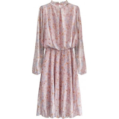 Dámske kvetované šaty ružové (561ART)