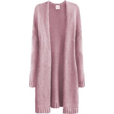 Teplý dámsky sveter pudrovoružový  (559ART)