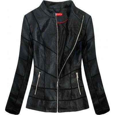 Dámska koženková bunda čierna (TD1016-1)