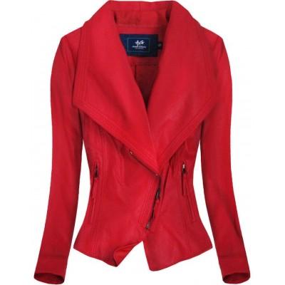 Dámska koženková bunda červená (C8002)