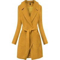 Dámsky jarný kabát s opaskom horčicový  (X2708X)