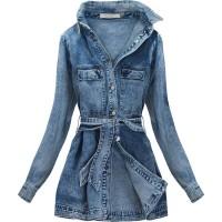 Dámska jeansová bunda s opaskom  (C131)