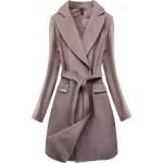 Dámsky elegantný kabát svetlohnedý  (2717)