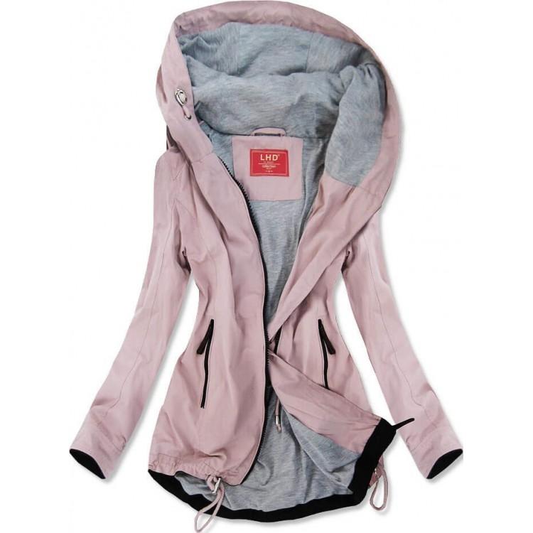 Ľahká dámska jarná bunda typu parka ružová (TLR201)