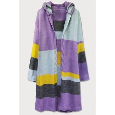 Dámsky sveter s kapucňou kardigan fialový (613ART)