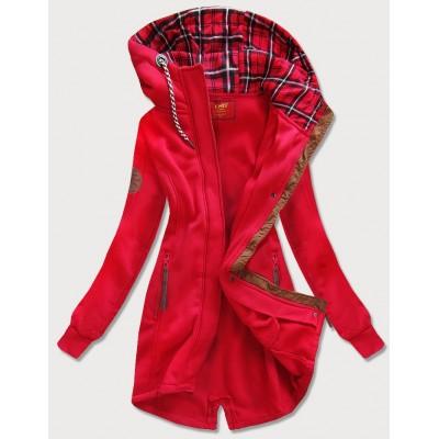Dlhá dámska mikina s kapucňou červená (675)