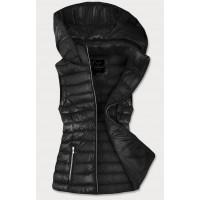 Dámska lesklá vesta čierna (7000)