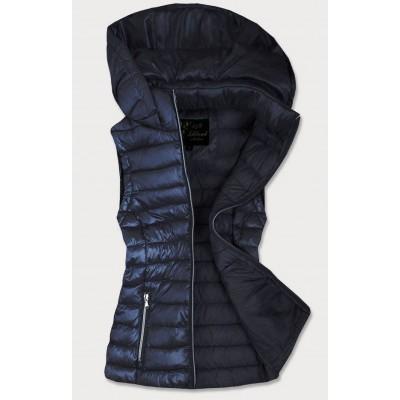 Dámska lesklá vesta tmavomodrá (7000)