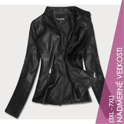 Dámska koženková bunda čierna  (R19BIG)