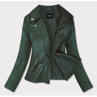 Dámska koženková bunda zelená (R18)