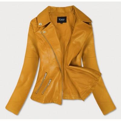 Dámska koženková bunda žltá (R18)