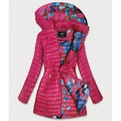 Dámska dlhá jesenná bunda ružová (7178)