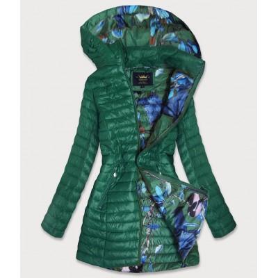 Dámska dlhá jesenná bunda zelená (7178)