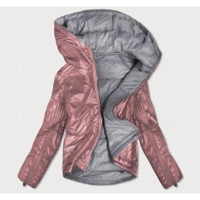 Dámska obojstranná jesenná bunda ružovo-šedá (B9553)