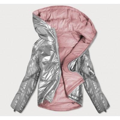 Dámska obojstranná jesenná bunda šedo-ružová (B9553)