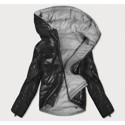 Dámska obojstranná jesenná bunda čierno-šedá (B9553)
