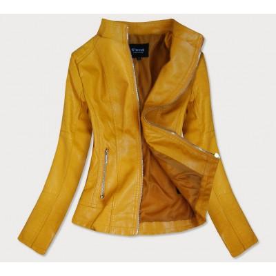 Dámska koženková bunda žltá (R12)
