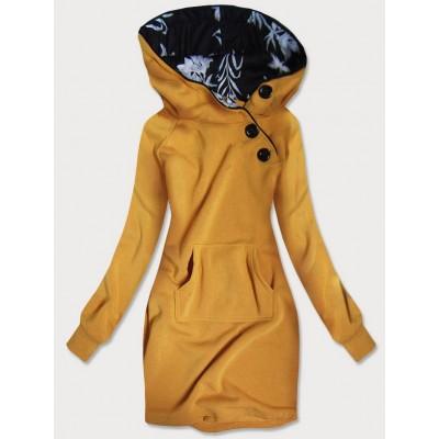 Dlhá dámska mikina s kapucňou žltá (696)