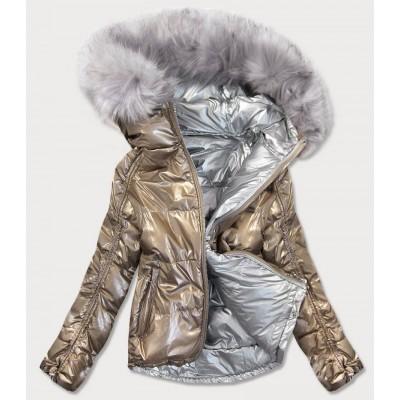 Obojstranná metalická jesenná bunda zlato-strieborná (GWW1908)