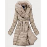 Dámska prešívaná zimná bunda s kožušinou béžová (X001X)