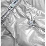 Dámska lesklá zimná bunda strieborná (GWW1939)