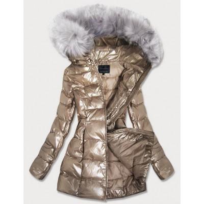 Dámska lesklá zimná bunda zlatá (GWW1939)