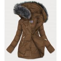 Dámska zimná bunda hnedá (B9527)