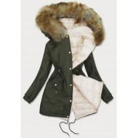 Dámska zimná obojstranná bunda khaki-ecru (B507)