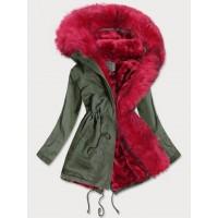 Dámska zimná bunda parka khaki-červená (D-216#)